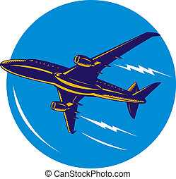 Airplane jet low angle - Illustration of a fast airplane jet...