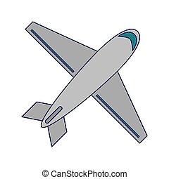 Airplane jet travel topview symbol