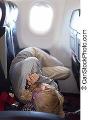 airplane, kvinna, ung, sova