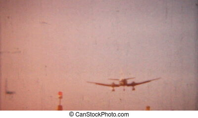 A shot of an airplane coming in for a landing in 1958 in Pennsylvania.