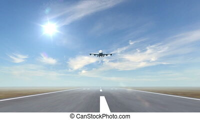 airplane landing against a sky background (time-lapse), 3d animation