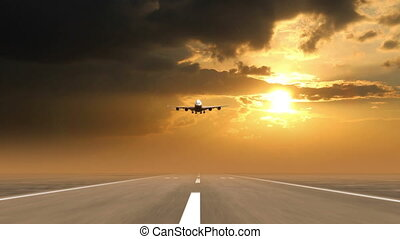 airplane landing against sunset background (time-lapse), 3d animation