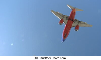 Airplane approaching runway for Touchdown at Los Angeles Airport
