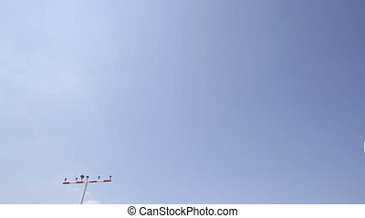 Landing approach - airplane, view from below