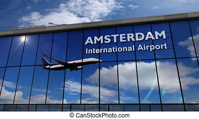 Airplane landing at Amsterdam mirrored in terminal