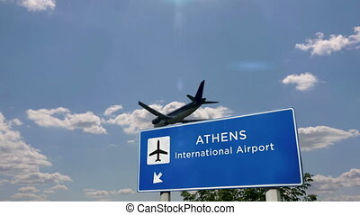 Jet airplane landing in Athens, Greece. City arrival with airport direction sign. Travel, business, tourism and transport concept. 3D rendering animation.