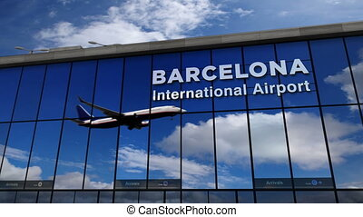 Airplane landing at Barcelona mirrored in terminal