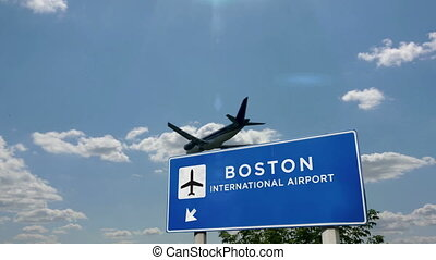 Jet airplane landing in Boston, Massachusetts, USA, United States. City arrival with airport direction sign. Travel, business, tourism and transport concept. 3D rendering animation.