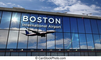Airplane landing at Boston mirrored in terminal