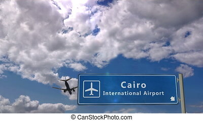 Airplane landing at Cairo