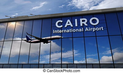 Airplane landing at Cairo mirrored in terminal
