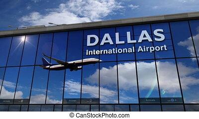 Airplane landing at Dallas DFW mirrored in terminal - Jet...