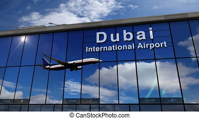 Jet aircraft landing at Dubai 3D rendering illustration. Arrival in the city with the glass airport terminal and reflection of the plane. Travel, business, tourism and transport concept.