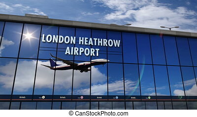 Jet aircraft landing at London, Heathrow, England, UK, GB, 3D rendering animation. Arrival in the city with the airport terminal and reflection of plane. Travel, business, tourism, transport concept.