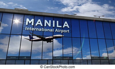 Airplane landing at Manila mirrored in terminal