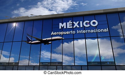 Airplane landing at Mexico mirrored in terminal
