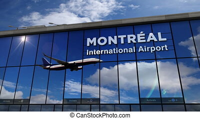 Airplane landing at Montreal mirrored in terminal - Jet...