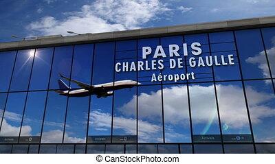 Airplane landing at Paris mirrored in terminal - Jet...