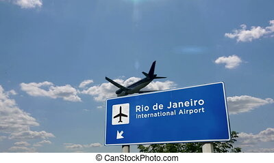 Jet airplane landing in Rio de Janeiro, Brazil. City arrival with airport direction sign. Travel, business, tourism and transport concept. 3D rendering animation.