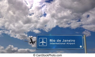 Jet plane landing in Rio de Janeiro, Brazil. City arrival with airport direction sign. Travel, business, tourism and transport concept. 3D rendering animation.