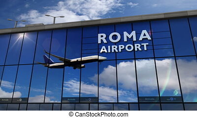 Airplane landing at Roma mirrored in terminal