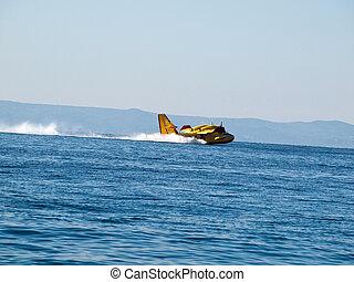 Airplane landing at sea