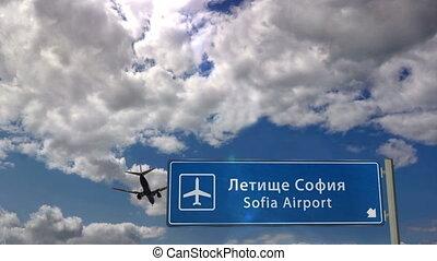 Airplane landing at Sofia - Jet plane landing in Sofia, ...