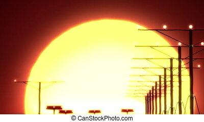 airplane landing at sunset, beautiful 3d animation
