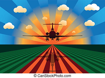 Airplane Landing at Sunset - Vector Illustration of Airplane...