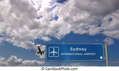 Jet plane landing in Sydney, Australia. City arrival with airport direction sign. Travel, business, tourism and transport concept.