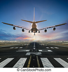 Airplane landing at the airport.