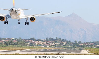 airplane landing at the airport