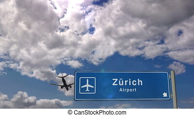 Jet plane landing in Zurich, Z?rich, Switzerland. City arrival with airport direction sign. Travel, business, tourism and transport concept. 3D rendering animation.