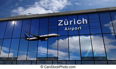 Jet aircraft landing at Zurich (Z?rich) Switzerland 3D rendering animation. Arrival in the city with the glass airport terminal and reflection of the plane. Travel, business, tourism and transport.