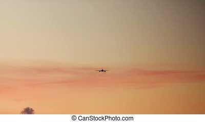 Commercial airplane landing during sunset. 4K