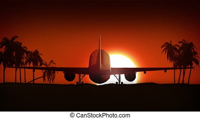Airplane landing in Africa. - Airplane is landing at the...