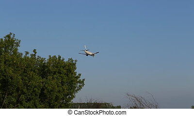 Airplane landing in aiport
