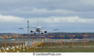 Airplane landing in airport