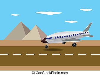 Airplane Landing in Egypt Vector Illustration