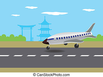 Airplane Landing in Japan Vector Illustration
