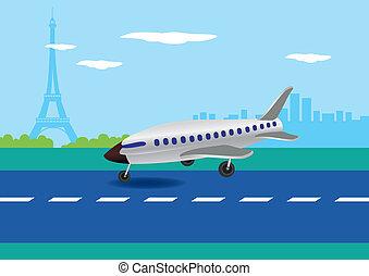 Airplane Landing in Paris, France Vector Illustration