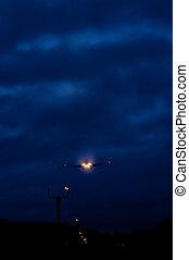 Airplane landing in the dark
