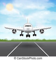 airplane landing on airport runway sky background