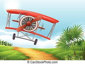 Airplane landing on dirt road illustration