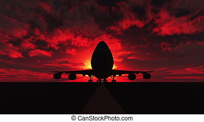 airplane landing on the runway sunset 3d