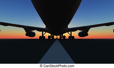 airplane landing on the runway 3d
