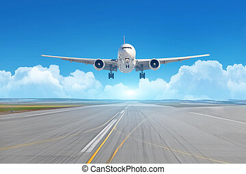 Airplane landing on the runway on a sunny day, in the background picturesque clouds