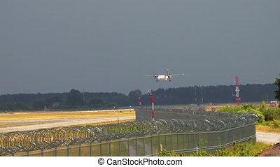Airplane landing on the runway