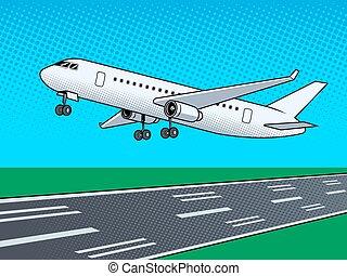 Airplane landing pop art vector illustration