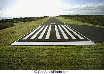 Airplane landing strip. - Aerial view of airplane landing...